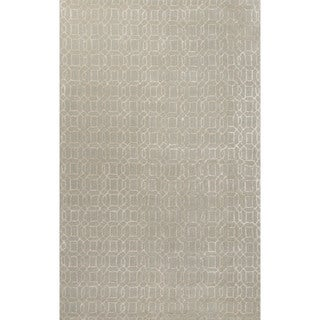 Contemporary Trellis, Chain And Tile Pattern Green Wool and Art Silk Area Rug (5' x 8') (As Is Item)
