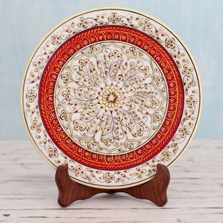 Handcrafted Marble 'Jaipur Kaleidoscope' Decorative Plate (India)
