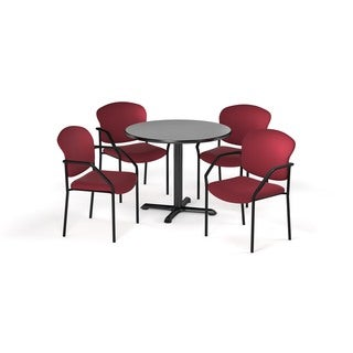 OFM Gray 42-inch Round Table X-Series with 4 Fabric Guest Chairs