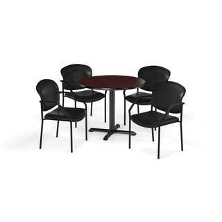 OFM Mahogany 36-inch X-Series Breakroom Square Table with 4 Fabric Guest Chairs
