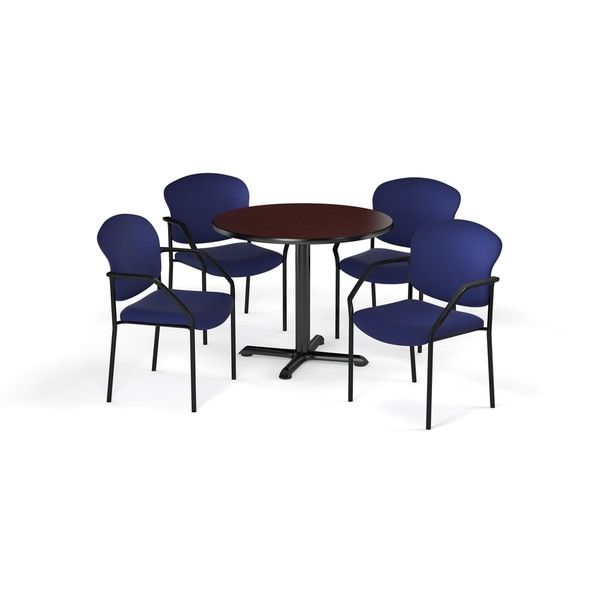 OFM Mahogany 42-inch Round Table X-Series with 4 Fabric Guest Chairs