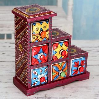 Handcrafted Mango Wood Ceramic 'Burgundy Gujurat' Decorative Box with Drawers (India)