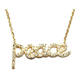 Athra Luxe Collection Goldplated Sterling Silver Cubic Zirconia 'Peace' Necklace