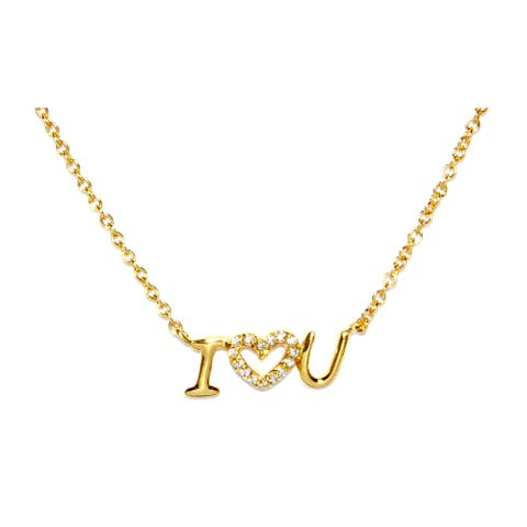 Athra Luxe Goldplated Sterling Silver and Cubic Zirconia 'I Love You' Necklace