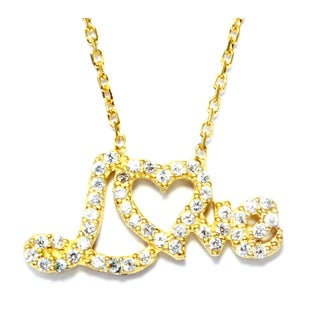 Goldplated Sterling Silver Cubic Zirconia Open Cross Necklace