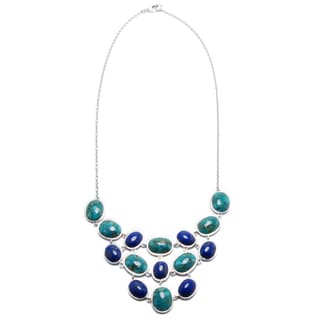 Sterling Silver Enhanced Turquoise and Dyed Lapis Oval Frontal Necklace
