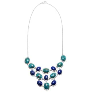 Sterling Silver Enhanced Turquoise and Dyed Lapis Oval Frontal Necklace|https://ak1.ostkcdn.com/images/products/13041845/P19781599.jpg?impolicy=medium