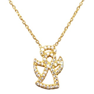 Athra Luxe Collection Gold-plated Sterling Silver Cubic Zirconia Angel Necklace