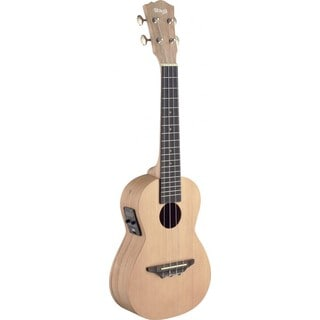 Stagg Spalted Maple Wood Acoustic-Electric Concert Ukulele with Built-In Tuner