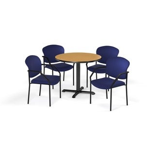 OFM Oak 42-inch Round Table X-Series with 4 Fabric Guest Chairs