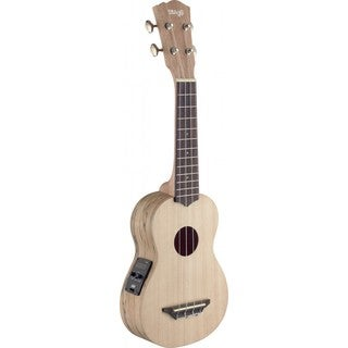 Stagg USX-SPA-SE Acoustic-electric Spalted Maple Wood, Rosewood, Mahogany Wood, and Nickel Soprano Ukulele w/ Built-in Tuner