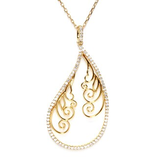 Gold Plated Sterling Silver Cubic Zirconia Filligree Teardrop Pendant
