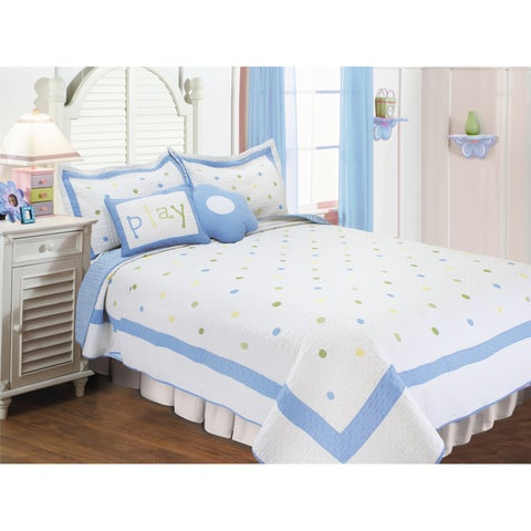 Sky Blue Polka Dots 5-piece Quilt Set with Decorative Cushions