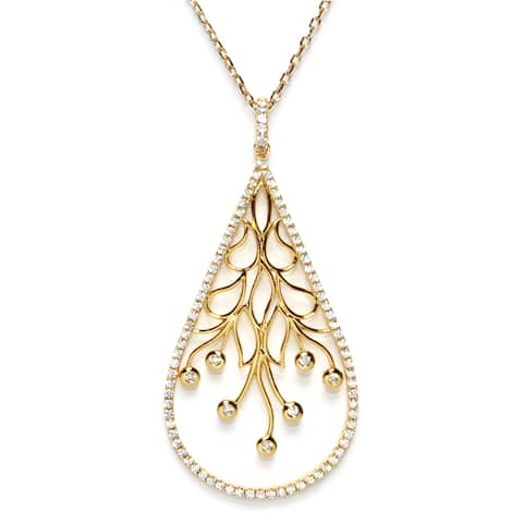 Athra Luxe Goldplated Sterling Silver Filigree Cubic Zirconia Teardrop Pendant Necklace