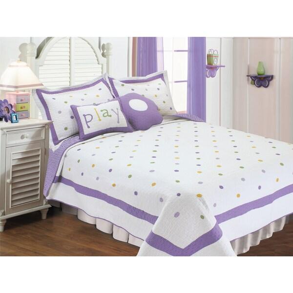 Lavendor Polka Dots 5-piece Quilt Set with Decorative Cushions