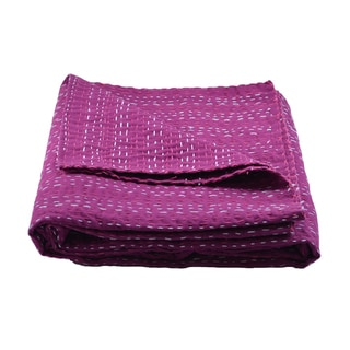Solid King-size Kantha Throw Bedspread (India)