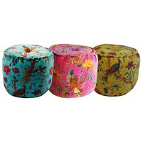 Handmade Tropical Bird Print Velvet Ottoman Pouf (India)