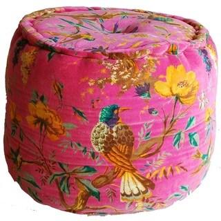 Handmade Tropical Bird Print Velvet Pouf (India)
