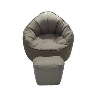 Brown Giant Pod Chair and Ottoman Set