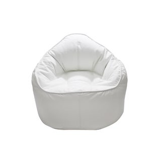 Red Rosewood The Giant Pod White Faux Leather Bean Bag Chair