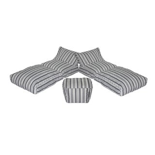 Modern Bean Bag Grey Striped Fabric Nautical Patio Lounger (Set of 3)