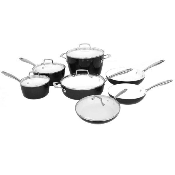 shop oneida black forged aluminum 11 piece cookware pack with ceramic interior and glass lids. Black Bedroom Furniture Sets. Home Design Ideas