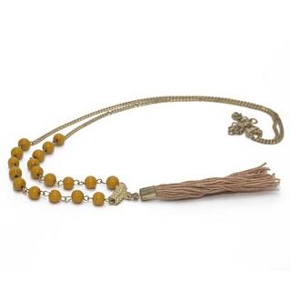 Handmade Brass Bead & Tassel Necklace (india)
