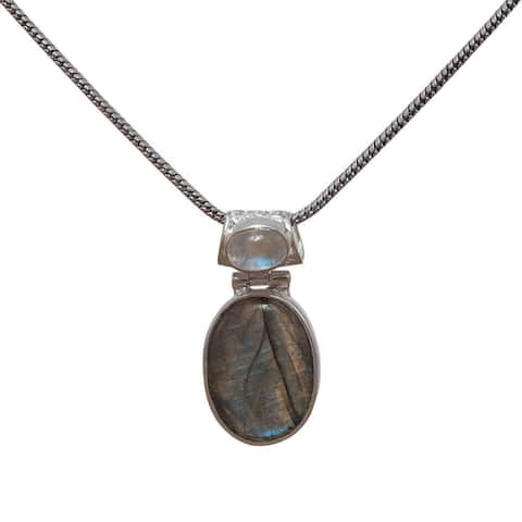 Handcrafted Sterling Silver Double Gemstone Pendant (India)