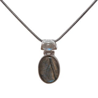 Handmade Sterling Silver Double Gemstone Pendant (India)