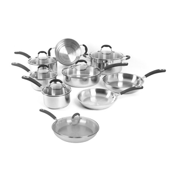 shop oneida stainless steel and glass 15 piece cookware pack on sale free shipping today. Black Bedroom Furniture Sets. Home Design Ideas
