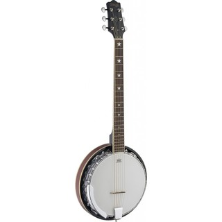 Stagg BJM30 G Deluxe White 6-string Bluegrass Banjo with Metal Pot and Guitar Headstock
