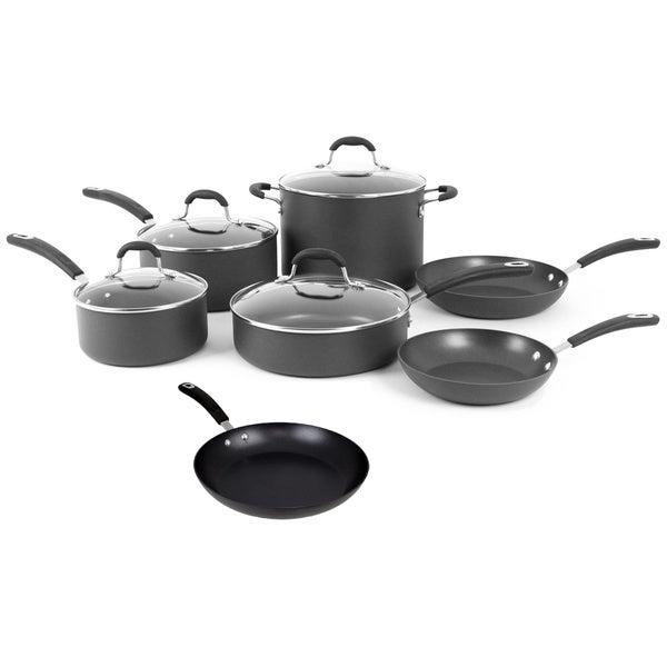 shop oneida black hard anodized aluminum 11 piece non stick cookware pack on sale free. Black Bedroom Furniture Sets. Home Design Ideas