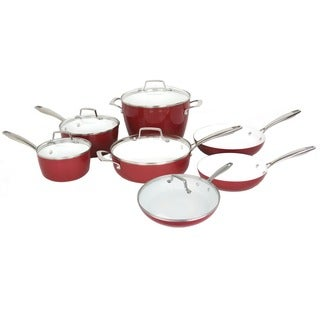 Oneida Red Stamped Aluminum, Ceramic, and Glass 12-piece Cookware Pack