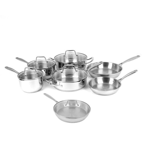 shop oneida stainless steel and glass 12 piece cookware pack free shipping today overstock. Black Bedroom Furniture Sets. Home Design Ideas