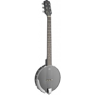 Stagg Black Wooden Open Back 6-string Banjo with Guitar Headstock