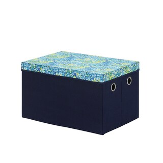 Blue/Green Collapsible Storage Trunk with Removable Lid