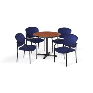 OFM Cherry 42-inch Round Table X-Series with 4 Fabric Guest Chairs