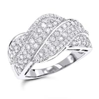 Luxurman 14k White Gold 1 1/4ct TDW Diamond Swirl Ring
