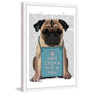 Marmont Hill - 'Hug a Pug' Framed Painting Print