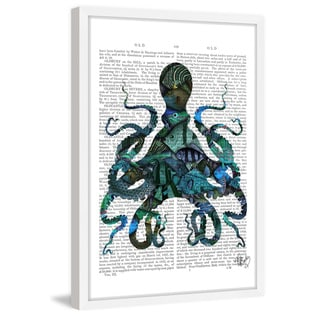 Marmont Hill - 'Fishy Blue Octopus' Framed Painting Print