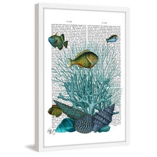 Marmont Hill - 'Blue Coral Fish' Framed Painting Print