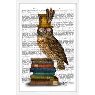 Marmont Hill - 'Owl on Books' Framed Painting Print