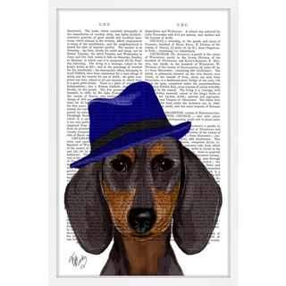 Marmont Hill - 'Dachshund with Blue Trilby' Framed Painting Print
