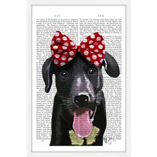 Marmont Hill - 'Black Lab with Red Bow' Framed Painting Print