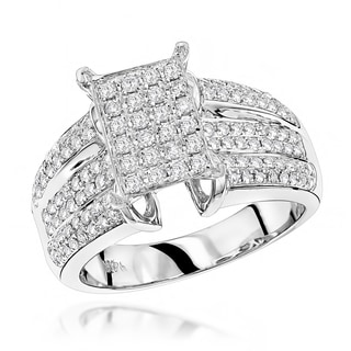 Luxurman 14k White Gold 1ct TDW Pave Diamond Ring
