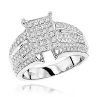 Luxurman 14k White Gold 1ct TDW Pave Diamond Ring