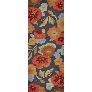 Hand-hooked Savannah Dark Brown/ Floral Runner Rug (2' x 5')