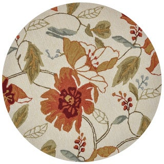 Hand-hooked Savannah Ivory Floral Rug (3' x 3' Round)