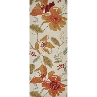 Hand-hooked Savannah Ivory Floral Runner Rug (2' x 5')