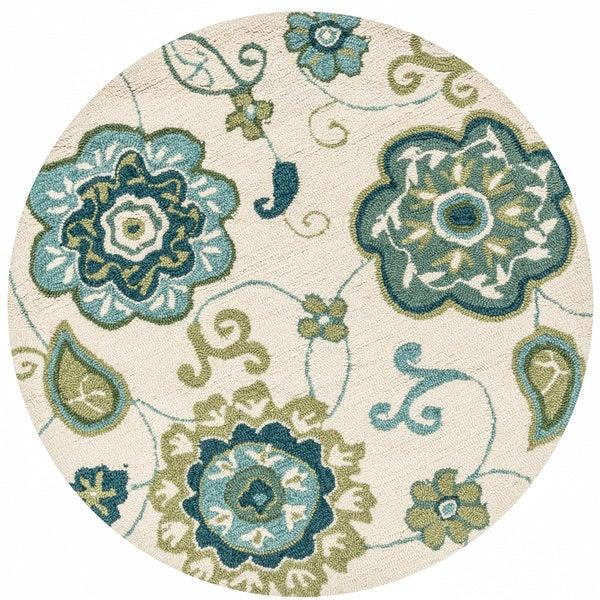 Hand-hooked Savannah Ivory/ Aqua Floral Rug (3' X 3' Round